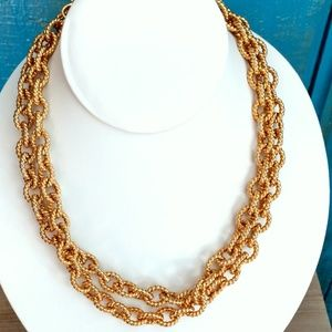 Gold tone chain link long necklace